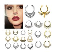 Wholesale fake nose ring jewelry fake septum Piercing clicker faux clip non piercing ear Hoop For Women