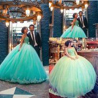 Wholesale Mint Green Quinceanera Dresses vestidos de anos Sweetheart Appliques Lace Ball Gown Sweet Dresses Plus Size Dress For Pageant