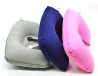 Wholesale Travel air pillow U inflatable pillow Flocking pillow health cervical pillow neck pillow u shaped pillow g