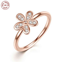 Wholesale Solid Sterling Silver Rings Cherry Blossom K Rose Gold Plated Wedding Ring For Woman Luxury Pandora Ring Style Jewelry Gift P188