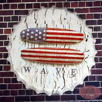 american plaque - Round signs US American Flag Garage Stickers Decor Iron Retro Tin Metal Signs Plaques cm RD