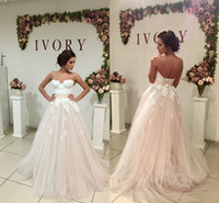 Wholesale New Cheap Fairy Beach Wedding Dresses Sweetheart Appliques Lace Top Backless Charming Bohemian Bridal Gowns Vestidos De Noiva Cheap