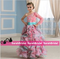 aqua balls for sale - Two Tone Coral and Aqua Organza Ball Girls Pageant Evening Dresses for Juniors Children Kids Prom Formal Dancing Wear Sale Cheap from China