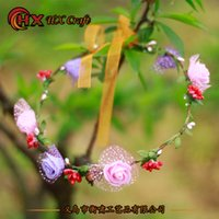 attraction wedding - Decorative Flowers scenic tourist attractions in the Princess Bride headdress flower wreath hoop female headdress cheap shipping Sen photos