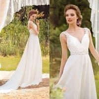 Wholesale 2016 New Arrival V Neck Appliques Lace Ivory Chiffon A Line Wedding Dresses Watteau Train Plus Size Bridal Gowns
