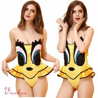 Wholesale Free Size Halloween Cartoon Costume for Women Yellow Gold Velvet Strapless Jumpsuits Sexy Tweety Bird Cosplay Teddies Ruffled Bodysuits