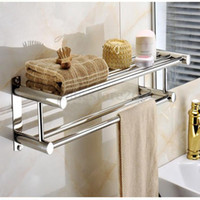 bathroom towel holder - Double Chrome Wall Mounted Bathroom Towel Rail Holder Storage Rack Shelf Bar NEW fast shipping