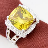 Cheap 3PCS LOT Holiday Jewelry Gift Trendy Square Citrine Gemstone 925 Sterling Silver Plated Ring R0450