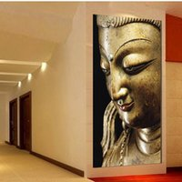 contemporary oil paintings - Wall Art Religion gold Buddha Oil Painting On Canvas Contemporary Cheap Picture No Frame orders