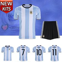 argentina kits - 2016 Argentina Soccer Jersey Adult kits camisetas de futbol LEO Messi Maillot Maradona Di Maria Kun Aguero Higuain home sets Football Shirts