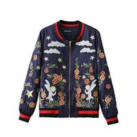 angels station - Women European station Ladies Flaky clouds angel Embroidery Flying jacket Varsity Jacket Loose coat