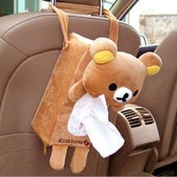 Wholesale free shinppingCar tissue box cute Rilakkuma cartoon car tissue box tray pumping back hanging Auto Accessories