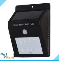 Wholesale outdoor waterproof LED solar light leds IP65 solar Wall lamp PIR Motion Sensor Automatic charging Street Garden Garden light