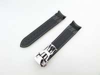 Wholesale 20mm NEW Black With White stitched Diver Rubber band strap with deployment clasp For Planet Ocean