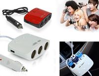 Wholesale 2016 new Three Way Car Cigarette Lighter Socket Splitter Charger Adapter USB Port V