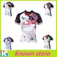bicycle beautiful - 2016 New Women White Cycling Jersey Beautiful Lily Cycling Shirt Plum Flower Bicycle Jersey Girl Gear Ride top Women