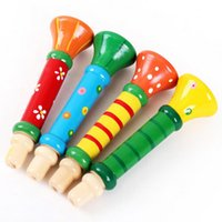 Wholesale Colorful Wooden Trumpet Buglet New Arrival Hooter Bugle Educational Toys Kids Children Toy Musical Instrument Low Price