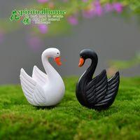 Wholesale fairy garden miniature Swan black or white open wings artificial mini swan Ornaments decors resin crafts bonsai decors
