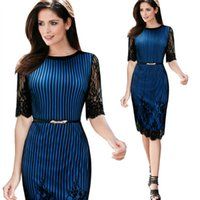Wholesale Newest Women Work Dress Bodycon Pencil Dresses Half Sleeve Hollow Shoulder Lace Dress with Sashes Empire Striped Dress