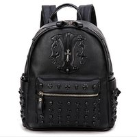 ans bag - 2016 new fashion women and men rivet pu backpack European ans American style cross skull backpack punk backpack leisure bags party bags