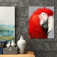 Wholesale Wall Decor Hand Made Red Parrot Oil Painting On Canvas Animal Oil Painting Modern Canvas Wall Art Living Room Decor Picture