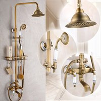 antique brass shelf - New Shower Faucets Set Bathroom Antique Brass Commodity Shelf And Hangers Ceramics Dual Handles Wall Mounted Shower Faucets