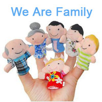 Wholesale Whole Family Finger Puppets Toys Baby Hand Finger Story Plush Doll Puppet Grandpa Grandma Dad Mom Brother Sister Six People Characters Gift
