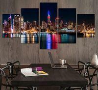 Мода Город Ночь и Мост 5 Панели / Set Large HD Picture Печать холст Картина Картина Стена Декоративная картина маслом Unframed