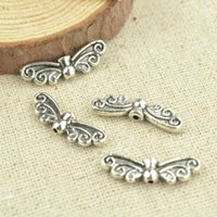 Wholesale 2 sizes Vintage silver plated metal butterfly charm loose beads diy jewelry findings