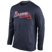 baseball legend - 2016 New MLB Men Atlanta Braves T Shirt Navy Legend Wordmark Performance Long Sleeve T Shirts MLB Baseball T Shirt
