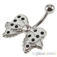 Wholesale Cute Bow with Polka Dots No Dangle Belly Ring Bar Navel Ring I