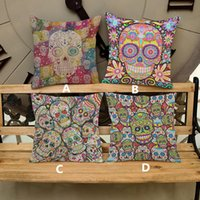 Wholesale Halloween Flower Skull decorative pillow cover creative cartoon cool skull comfortable home cushion cover with size cm
