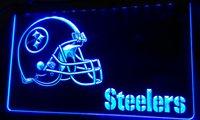 animal pittsburgh steelers - LS419 b Pittsburgh Steelers Helmet NR Neon Light Sign jpg
