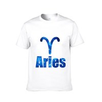 aries color - Men s Latest Version Constellations Short sleeved T shirt Pure Cotton Aries Round Neck Short sleeve Shirt Clothes Best Selling Color
