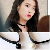american producer - 2016 Korean producer IU star with South Korea imported black pearl pendant necklace Korean short necklace S100
