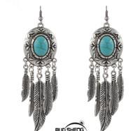 antique tibetan earrings - 3 designs new summer style tibetan silver antique turquoise bead feather tassel statement earrings bohemian pendientes