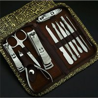 Wholesale 12 in Manicure Set Pedicure Scissor Tweezer Knife Ear pick Utility Nail Clipper Kit Stainless steel Nail Care Tool Sets