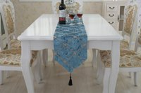Wholesale 28x180cm Luxury Stereoscopic Flower Embroidered Table Runner Cloth Grid Style Wedding Table Runner Home Party Decoration hot