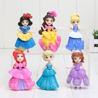 bella doll - Princess PVC Figures Mini Ariel Cinderella Snow white Sofia Bella Sleeping Beauty Action Model Dolls cm
