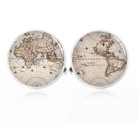 Wholesale Handmade world map Cufflinks custom Intercontinental map cuff links vintage World map custom USA City Map Custom Map Cuff link Groomsmen