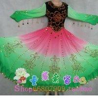 Wholesale The latest Xinjiang Dance Costume chiffon dress color gradient color dance Uygur dress