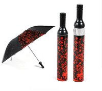 Wholesale In business RED WINE BOTTLE STYLE FOLDING UMBRELLA Portable Creative Fashion Three Folding Wine Bottle Sun rain Umbrella Gift