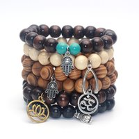bamboo charms - 12MM Beads Yoga Inspired Bamboo Wood Mala Bracelet Buddha Hamsa Hand Wish Bone Lotus Charm Bracelet