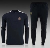 Wholesale NEW BLACK PSG THIRD TRAINING SETS PSG STRIKE MIDLAYER HALF ZIPPER TRACKSUITS LOGO CREST EMBROIDERED