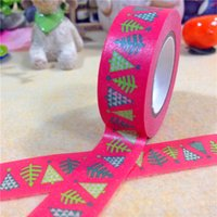 Wholesale New x Merry Christmas Trees Patterned Red Colored Decorative Masking Tape DIY Cinta Adhesiva Japanese Washi Tape mm M