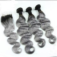 Wholesale Brazilian Body Wave B Grey Ombre Hair with Lace Closure Two Tone Bundles With Closure Brazilian Silver Grey Hair With Closure