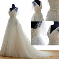 Wholesale 2016 Cheap Ivory Lace Wedding Dresses V Neck Wedding Dress Sheer Backless Wedding Gowns Chapel Train Bridal Gowns