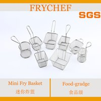 Wholesale Frychef Food grade Stainless Steel mini fry basket food dishes french freis basket metal basket fried food plate food tableware