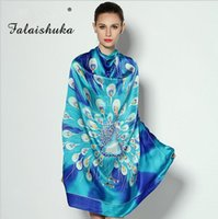 Wholesale The new silk hand painted big squares lady peacock pattern high grade silk scarves silk shawl gift