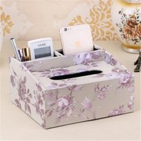 Wholesale Pumping Cassette Organizer Leather Tissue Box Cover Living Room Multifunction Creative Desktop Table Napkin Storage Box A236